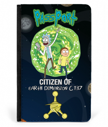 Earth Dimension C 137 Faux Leather Passport Cover Rick & Morty Passport Cover